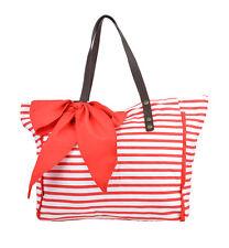 Big STREIFEN Bow Stripe Schleifen Bag SHOPPER Tasche - Rot Rockabilly