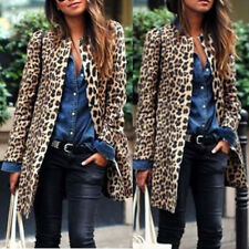 Women's Winter Warm Wind Coat Cardigan Leopard Print Long Coat Jacket Outwear