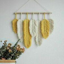Handmade Macrame Wall Hanging Feather Cotton Woven Leaves Living Room Boho Decor