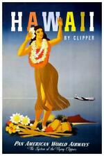 Hawaii by Clipper Hula Girl Vintage Travel Print inch Poster 24x36 inch