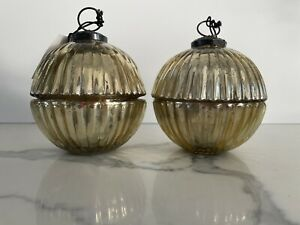 """2 Mercury Glass Ornament Scented Candles """"WINTER WOOD"""" Gold"""