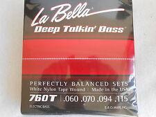 La Bella 760T White Nylon Tape Wound Bass Guitar Strings - Standard .60 - .115