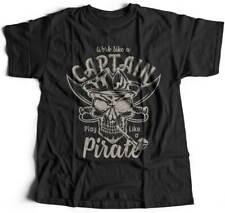 Pirate T-Shirt Navy Anchor Sailor Ship Sea Ocean Jolly Roger Skull Flag B156