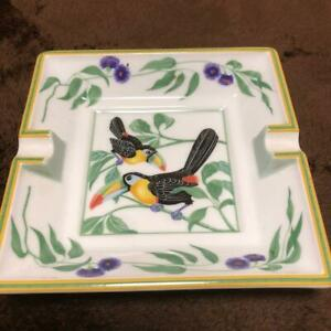 HERMES PARIS Ashtray Square Plate with TOUCANS Bird W15cm