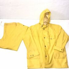Vintage Helly Hansen 50s 60s Helox Yellow Raincoat And Pants Rare Mens Large