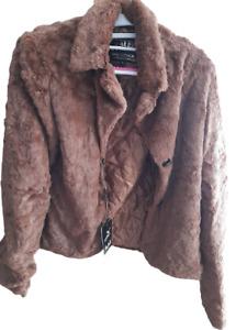 Women Ladies Faux Fur Jacket Coat  Size UK 8-10