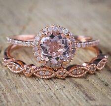 2Pcs Ring/Set 18K Rose Gold Filled White Topaz Wedding Engagement Gift Size 6-10