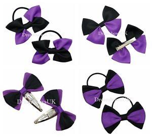 Black and purple ribbon/fabric hair accessories/bows, Girls school hair bows