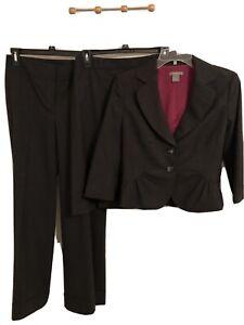 3 Piece Ann Taylor Lined Suit Charcole Gray Size 4