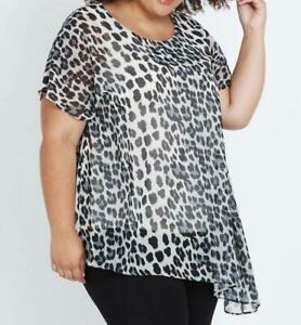 PLUS SIZE LADIES NEW WITH TAGS AUTOGRAPH ASYMMETRIC ANIMAL PRINT TOP SIZE 20