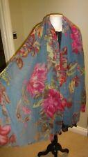 """Nyara 100% Wool Blue & Pink Large Shawl, Scarf 78"""" X 29"""""""