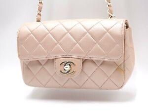 Auth CHANEL Mini Matelasse 17 Single Flap Chain Shoulder Bag Lambskin Pink 5496