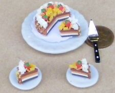 1:12 Scale Sliced Cake On A Ceramic Plate Dolls House Miniature Accessory SC3