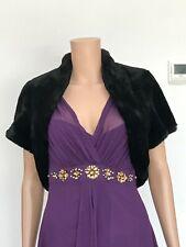 Coast Camilla Black Soft Silky Faux Fur Jacket Shrug M/L 12-14 £89 RRP