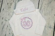 PERSONALIZED  Baby Girl Sleeper Gown and Hat Set -  Monogram Pearls Bow Newborn