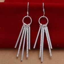 Hot 925Sterling Solid Silver Jewelry Circle&5Bar Dangle Earrings For Women E026
