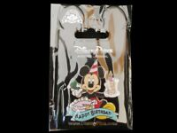Disney Trading Pin Mickey Mouse Happy Birthday! Cake w/ Candle & Party Hat Horn