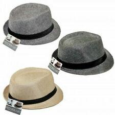 Fedora Hat Bundle -3 Hats - Smoke Gray, Gray, Tan - Unisex