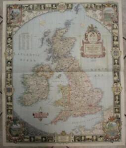 UNITED KINGDOM & IRELAND 1949 NATIONAL GEOGRAPHIC LARGE FORMAT LITHOGRAPHIC MAP
