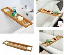 Bamboo Over Bath Rack Tidy Bathroom Storage Stand Tray Bathtub Shower Caddy