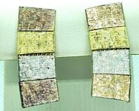 Clip-On Earrings 4 Squares Gold Tones Silver Tones Articulated Drop Vintage