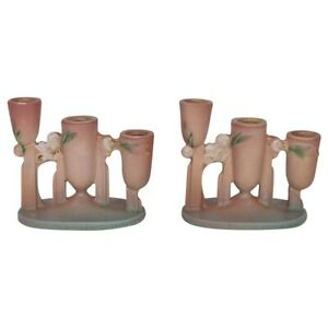 Roseville Pottery Ixia 1937 Pink Art Deco Triple Ceramic Candle Holders 1128