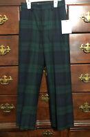 Polo Ralph Lauren Boys Wool Plaid Blue Green Tartan Pants Size 6 - NEW/DEFECTS