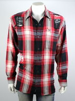 True Religion Men's Red Plaid Loose Fit Button Up Shirt/Top - 100396