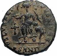 ARCADIUS Authentic 383AD Ancient Roman Coin w VICTORY ANGEL & CROSS i67185