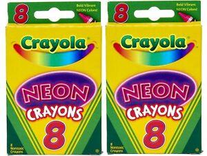 Crayola Neon Crayons 16 Count Non-washable Wax Crayons Intense Brightness 2 Pack