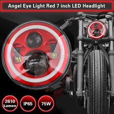 Motorcycle 7'' Red Hi/Lo Beam LED Headlight Projector For Harley Jeep Wrangler