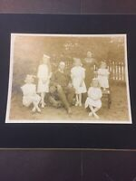 Vintage Cabinet Photo Card, Lady & Gentleman With 5 Young Girls Photograph CC8