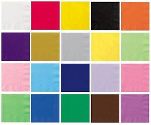 Disposable Paper Luncheon Napkins 13in x 13in - 20 pack - 22 colours available