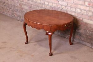 Baker Furniture Queen Anne Burled Walnut Coffee Table