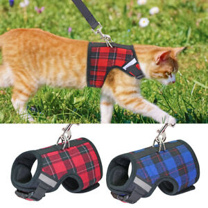 Soft Small Dogs Cat Walking Harness and Leads Reflective Mesh Padded Puppy Vest