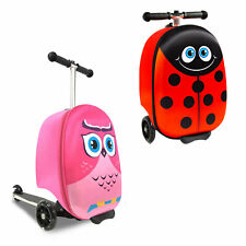 Doodle Luggage Scooter with 3 Wheels Suitcase For Outdoor Traveling, Owl & Lady