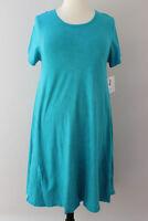2XL Extra Large LuLaRoe Carly Dress 100% Cotton Acid Mineral Wash Blue Green 353