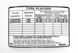 "NOS VS Holden Commodore Calais Statesman Caprice 16"" Tyre Placard Sticker Decal"