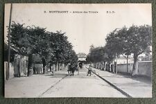 CPA. MONTMAGNY. 95 - Avenue des Tilleuls. 1908. Attelage. Vélo.