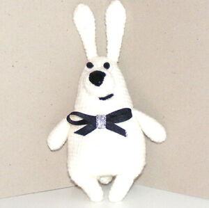 "*Hoppity Hop, White Rabbit, 6"" to Top of Ears, Crochet, Handmade Animal, Bunny"