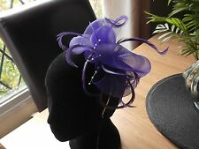 fascinator hat bridel ladie's day Ascot races feathers  headband  wedding purple