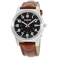 Wenger Field Classic Black Dial Leather Strap Men's Watch 72800