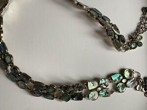 RARE BELT Stunning Solid  925 Sterling Silver & Abalone Shell Belt Chain HEAVY