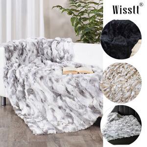 Luxury Rabbit Fur Throw 100% Real Rex Fur Warm Sofa Bedspread Blanket Comfort UK