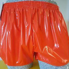 PVC Shorts de Fútbol Pequeña a XXXXL Años 70 & 80 Retro, Naranja Blanco Acentos