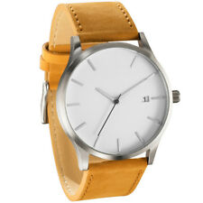 Retro Men's Boys Date Dail Wrist Watch Leather Band Quartz Simple Casual Watches Black
