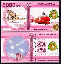 RARE ★ ILE EUROPA ● TAAF / COLONIE ● BILLET POLYMER 5000 FRANCS ★ N.SERIE 000003