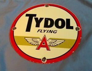 VINTAGE FLYING A GASOLINE PORCELAIN TYDOL SERVICE STATION AIRPLANE SIGN