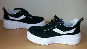 FAB BLACK & WHITE LIGHTWEIGHT CHUNKY PLATFORM WEDGE TRAINERS SHOES SIZE 5
