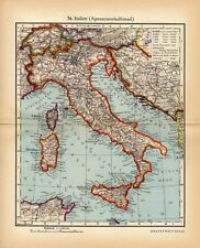 Antique map Italy Sardinia Corsica Apennines 1936 / mappa antica Italia